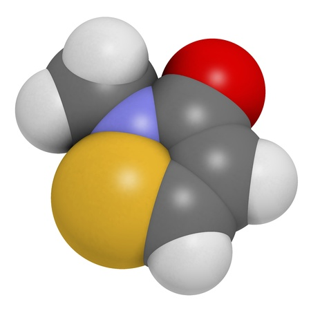 preservative: Methylisothiazolinone  MIT, MI  preservative molecule, chemical structure  Often used in water-based products, e g  cosmetics  Atoms are represented as spheres with conventional color coding  hydrogen  white , carbon  grey , oxygen  red , nitrogen  blue ,