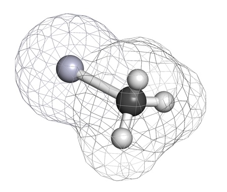 Methylmercury cation environmental pollutant, chemical structure  This highly toxic organometallic cation is often found in fish  Atoms are represented as spheres with conventional color coding  hydrogen  white , carbon  grey , mercury  blue-grey   photo