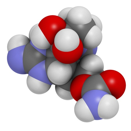 toxin: Saxitoxin  STX  paralytic shell�sh toxin  PST , chemical structure  Atoms are represented as spheres with conventional color coding  hydrogen  white , carbon  grey , oxygen  red , nitrogen  blue