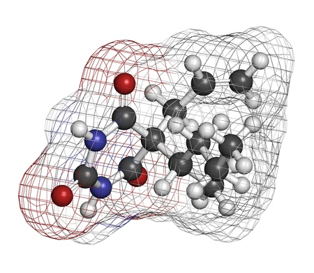 sedative: Secobarbital barbiturate sedative, chemical structure  Atoms are represented as spheres with conventional color coding  hydrogen  white , carbon  grey , oxygen  red , nitrogen  blue   Stock Photo