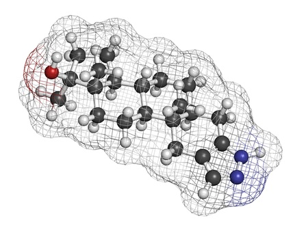 enhancing: Stanozolol anabolic steroid drug, chemical structure  Often used as a performance enhancing drug  sports doping   Atoms are represented as spheres with conventional color coding  hydrogen  white , carbon  grey , oxygen  red , nitrogen  blue