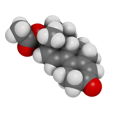 enhancing: Trenbolone acetate cattle growth promoter  Also used as a performance enhancing drug  sports doping   Atoms are represented as spheres with conventional color coding  hydrogen  white , carbon  grey , oxygen  red
