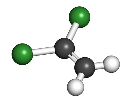 1,1-dichloroethene (DCE) polyvinylidene chloride (PVDC) building block. Atoms are represented as spheres with conventional color coding: hydrogen (white), carbon (grey), chlorine (green). Stock Photo