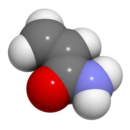 pollutant: acrylamide molecule, polyacrylamide building block and heat-generated food pollutant. Atoms are represented as spheres with conventional color coding: hydrogen (white), carbon (grey), oxygen (red), nitrogen (blue). Stock Photo