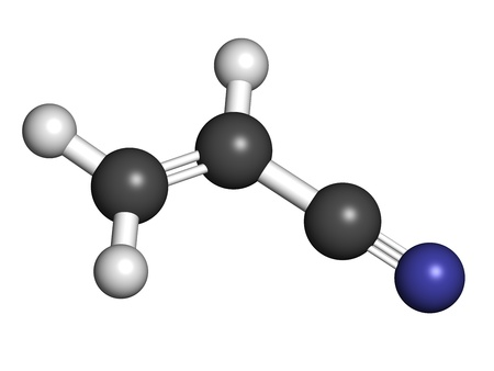 styrene: Acrylonitrile molecule, polyacrylonitrile (PAN) and ABS plastic (acrylonitrile butadiene styrene) building block. Atoms are represented as spheres with conventional color coding: hydrogen (white), carbon (grey), nitrogen (blue) Stock Photo