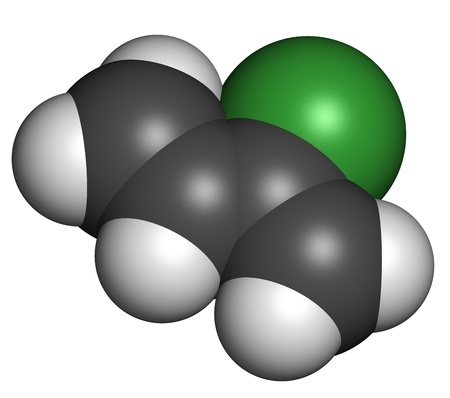 macromolecule: Chloroprene, the building block of polychloroprene synthetic rubber. Atoms are represented as spheres with conventional color coding: hydrogen (white), carbon (grey), chlorine (green).