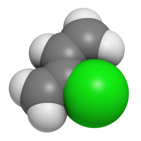 monomer: Chloroprene, the building block of polychloroprene synthetic rubber. Atoms are represented as spheres with conventional color coding: hydrogen (white), carbon (grey), chlorine (green).