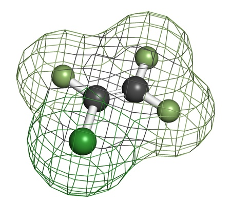 refrigerant: Chlorotrifluoroethylene (CTFE) refrigerant molecule and polychlorotrifluoroethylene plastic building block. Atoms are represented as spheres with conventional color coding: hydrogen (white), carbon (grey), chlorine (green), fluorine (light green). Wirefra