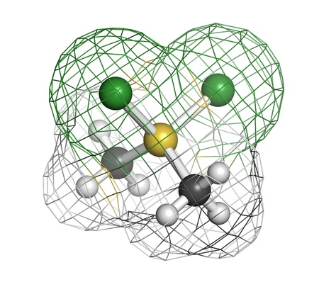 Dimethyldichlorosilane molecule, the precursor of polydimethylsiloxane (PDMS, silicone). Atoms are represented as spheres with conventional color coding: hydrogen (white), carbon (grey), silicon (yellow), chlorine (green). Wireframe surface. Stock Photo
