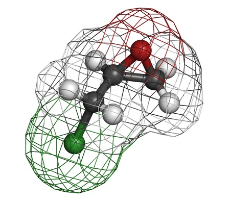epoxy: epichlorohydrin (ECH) epoxy resin building block. Atoms are represented as spheres with conventional color coding: hydrogen (white), carbon (grey), oxygen (red), chlorine (green). Wireframe surface. Stock Photo