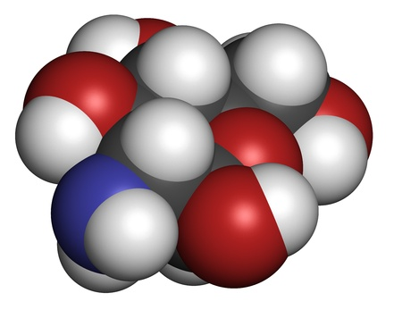 Glucosamine food supplement molecule. Atoms are represented as spheres with conventional color coding: hydrogen (white), carbon (grey), oxygen (red), nitrogen (blue).