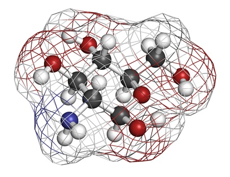 Glucosamine food supplement molecule. Atoms are represented as spheres with conventional color coding: hydrogen (white), carbon (grey), oxygen (red), nitrogen (blue). Wireframe surface.