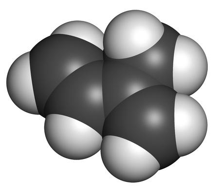 monomer: Isopreno, caucho (poliisopreno) pilar (mon?mero). Los ?tomos se representan como esferas con codificaci?n de color convencionales: hidr?geno (blanco), de carbono (gris).