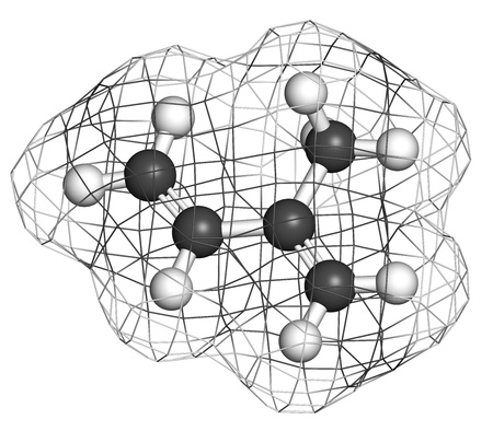 monomer: Isoprene, rubber (polyisoprene) building block (monomer). Atoms are represented as spheres with conventional color coding: hydrogen (white), carbon (grey). Wireframe surface.