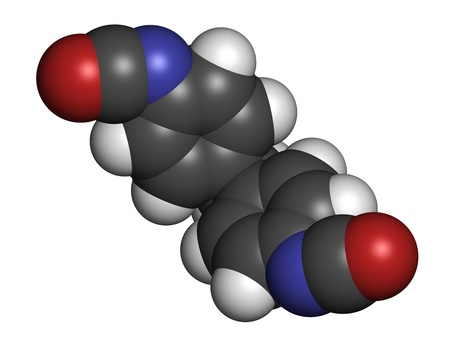 monomer: Methylene diphenyl diisocyanate molecule (MDI), polyurethane (PU) building block. Atoms are represented as spheres with conventional color coding: hydrogen (white), carbon (grey), oxygen (red), nitrogen (blue).