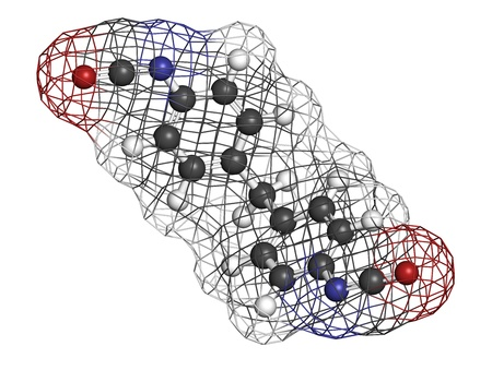 polyurethane: Methylene diphenyl diisocyanate molecule (MDI), polyurethane (PU) building block. Atoms are represented as spheres with conventional color coding: hydrogen (white), carbon (grey), oxygen (red), nitrogen (blue). Wireframe surface.