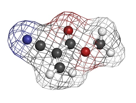 methyl: Methyl cyanoacrylate molecule, the main component of cyanoacrylate glues (instant glue). Atoms are represented as spheres with conventional color coding: hydrogen (white), carbon (grey), oxygen (red), nitrogen (blue). Wireframe surface.