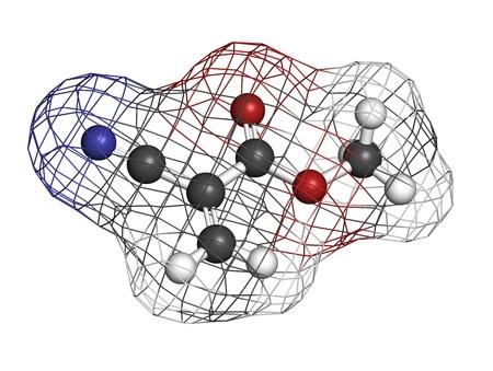 monomer: Mol�cula de cianoacrilato de metilo, el componente principal de pegamentos de cianoacrilato (pegamento instant�neo). Los �tomos se representan como esferas con c�digo de colores convencionales: hidr�geno (blanco), el carb�n (gris), ox�geno (roja), nitr�geno (azul). Superficie Wireframe.