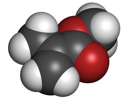 monomer: Mol�cula de metacrilato de metilo, poli (metacrilato de metilo) o acr�lico bloque de edificio de cristal. Los �tomos se representan como esferas con c�digo de colores convencionales: hidr�geno (blanco), el carb�n (gris), ox�geno (roja).