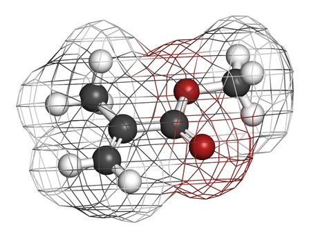 methyl: Methyl methacrylate molecule, poly(methyl methacrylate) or acrylic glass building block. Atoms are represented as spheres with conventional color coding: hydrogen (white), carbon (grey), oxygen (red). Wireframe surface.