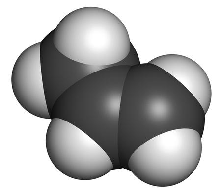 monomer: Propileno (propeno), polipropileno (PP, polipropileno) bloque de construcci?n de pl?stico. Los ?tomos se representan como esferas con codificaci?n de color convencionales: hidr?geno (blanco), de carbono (gris). Foto de archivo