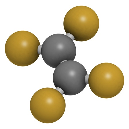 monomer: Tetrafluoroethylene (TFE), polytetrafluoroethylene (PTFE) polymer building block. PTFE is used in non-stick coating for cookware and as a lubricant. Atoms are represented as spheres with conventional color coding: carbon (grey), fluorine (gold).