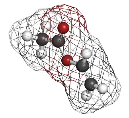 monomer: Vinyl acetate, polyvinyl acetate (PVA, PVAc) glue building block. PVA is used in a number of glue types. Atoms are represented as spheres with conventional color coding: hydrogen (white), carbon (grey), oxygen (red). Wireframe surface. Stock Photo