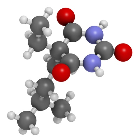 capital punishment: Amobarbital (amylobarbitone) barbiturate sedative, chemical structure. Also used as so-called truth serum. Atoms are represented as spheres with conventional color coding: hydrogen (white), carbon (grey), oxygen (red), nitrogen (blue).