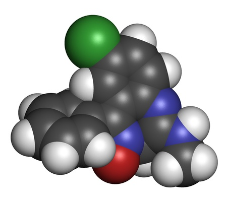 muscle relaxant: Chlordiazepoxide sedative and hypnotic drug, chemical structure. Atoms are represented as spheres with conventional color coding: hydrogen (white), carbon (grey), oxygen (red), nitrogen (blue), chlorine (green). Stock Photo