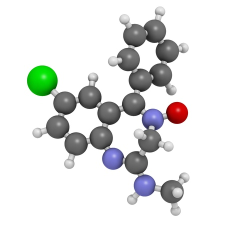 benzodiazepine: Chlordiazepoxide sedative and hypnotic drug, chemical structure. Atoms are represented as spheres with conventional color coding: hydrogen (white), carbon (grey), oxygen (red), nitrogen (blue), chlorine (green). Stock Photo