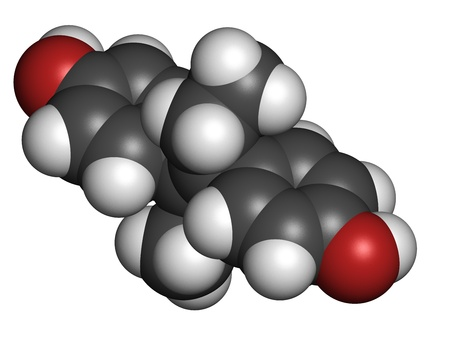 teratogenic: Diethylstilbestrol (DES, stilboestrol) synthetic estrogen molecule, chemical structure. Known for its teratogenic and carcinogenic side effects. Atoms are represented as spheres with conventional color coding: hydrogen (white), carbon (grey), oxygen (red) Stock Photo