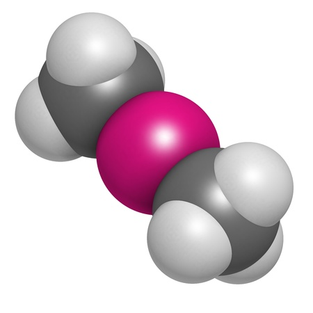 methyl: Dimethylmercury  (organomercury compound), chemical structure. Extremely toxic neurotoxin. Atoms are represented as spheres with conventional color coding: hydrogen (white), carbon (grey), mercury (magenta).