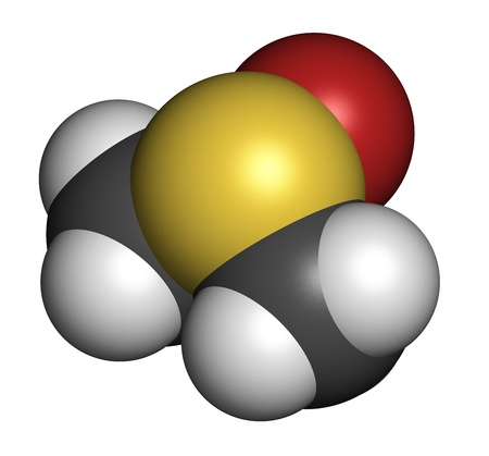 readily: dimethylsulfoxide (DMSO) molecule, chemical structure. DMSO is a chemical solvent that readily penetrates the skin. Atoms are represented as spheres with conventional color coding: hydrogen (white), carbon (grey), oxygen (red), sulfur (yellow).
