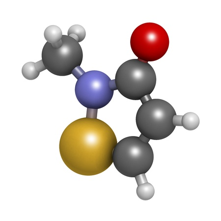 preservative: Methylisothiazolinone (MIT, MI) preservative molecule, chemical structure. Often used in water-based products, e.g. cosmetics. Atoms are represented as spheres with conventional color coding: hydrogen (white), carbon (grey), oxygen (red), nitrogen (blue),