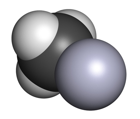 Methylmercury cation environmental pollutant, chemical structure. This highly toxic organometallic cation is often found in fish. Atoms are represented as spheres with conventional color coding: hydrogen (white), carbon (grey), mercury (blue-grey). photo