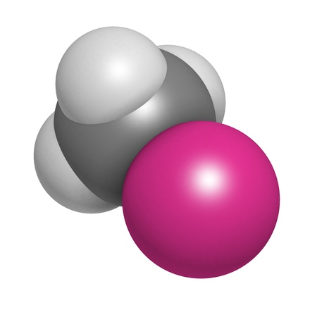 methyl: Methylmercury cation environmental pollutant, chemical structure. This highly toxic organometallic cation is often found in fish. Atoms are represented as spheres with conventional color coding: hydrogen (white), carbon (grey), mercury (magenta). Stock Photo