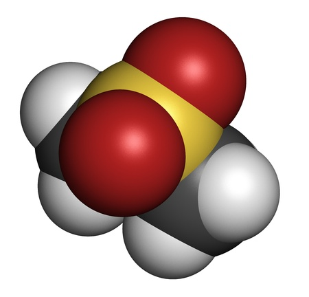 methyl: Methylsulfonylmethane (MSM) dietary supplement molecule, chemical structure. Atoms are represented as spheres with conventional color coding: hydrogen (white), carbon (grey), sulphur (yellow), oxygen (red), sulfur (yellow).