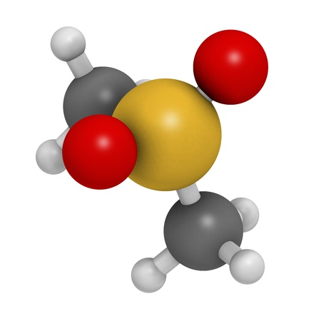 sulphur: Methylsulfonylmethane (MSM) dietary supplement molecule, chemical structure. Atoms are represented as spheres with conventional color coding: hydrogen (white), carbon (grey), sulphur (yellow), oxygen (red), sulfur (yellow).