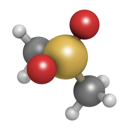 Methylsulfonylmethaan (MSM) voedingssupplement molecule, chemische structuur. Atomen worden weergegeven als bollen met conventionele kleurcodering: waterstof (wit), koolstof (grijs), zwavel (geel), zuurstof (rood), zwavel (geel).