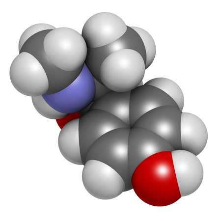 Oxilofrine (methylsynephrine, oxyephrine) stimulant drug, chemical structure. Used in sports doping. Atoms are represented as spheres with conventional color coding: hydrogen (white), carbon (grey), oxygen (red), nitrogen (blue). photo