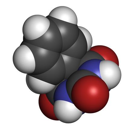 anticonvulsant: Phenobarbital barbiturate anticonvulsant (epilepsy drug), chemical structure. Atoms are represented as spheres with conventional color coding: hydrogen (white), carbon (grey), oxygen (red), nitrogen (blue).