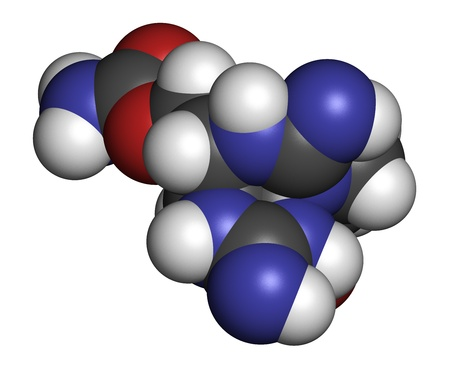 toxin: Saxitoxin (STX) paralytic shellfish toxin (PST), chemical structure. Atoms are represented as spheres with conventional color coding: hydrogen (white), carbon (grey), oxygen (red), nitrogen (blue). Stock Photo