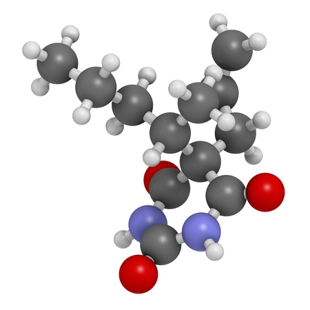 sedative: Secobarbital barbiturate sedative, chemical structure. Atoms are represented as spheres with conventional color coding: hydrogen (white), carbon (grey), oxygen (red), nitrogen (blue).