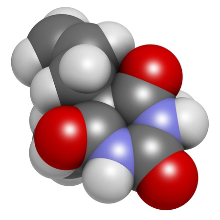 capital punishment: Secobarbital barbiturate sedative, chemical structure. Atoms are represented as spheres with conventional color coding: hydrogen (white), carbon (grey), oxygen (red), nitrogen (blue).