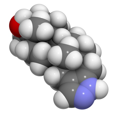 enhancing: Stanozolol anabolic steroid drug, chemical structure. Often used as a performance enhancing drug (sports doping). Atoms are represented as spheres with conventional color coding: hydrogen (white), carbon (grey), oxygen (red), nitrogen (blue). Stock Photo