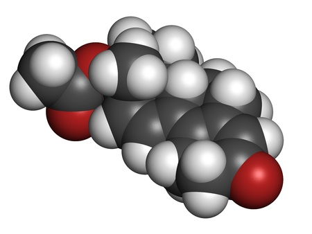 enhancing: Trenbolone acetate cattle growth promoter. Also used as a performance enhancing drug (sports doping). Atoms are represented as spheres with conventional color coding: hydrogen (white), carbon (grey), oxygen (red). Stock Photo