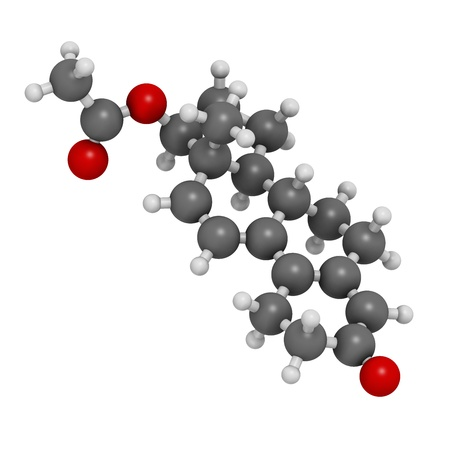 fat burning: Trenbolone acetate cattle growth promoter. Also used as a performance enhancing drug (sports doping). Atoms are represented as spheres with conventional color coding: hydrogen (white), carbon (grey), oxygen (red). Stock Photo
