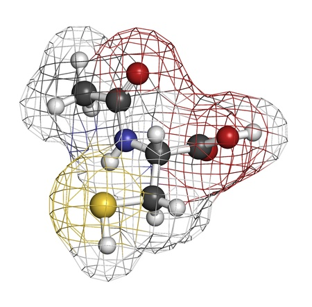 disulfide: Acetylcysteine (NAC) mucolytic drug, chemical structure. Also used to treat paracetamol overdose, Atoms are represented as spheres with conventional color coding: hydrogen (white), carbon (grey), oxygen (red), nitrogen (blue), sulfur (yellow) Stock Photo