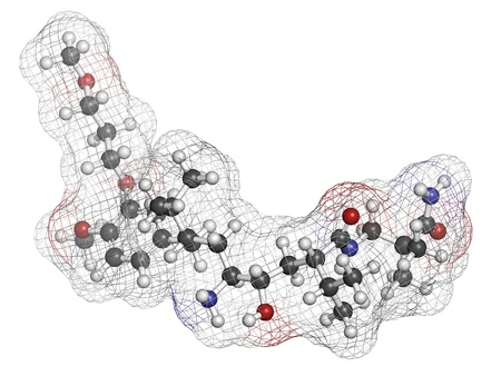 inhibitor: Aliskiren hypertension or high blood pressure drug (renin inhibitor class), chemical structure. Atoms are represented as spheres with conventional color coding: hydrogen (white), carbon (grey), nitrogen (blue), oxygen (red) Stock Photo