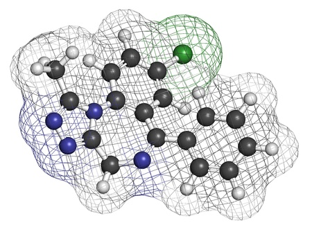 Alprazolam sedative and hypnotic drug (benzodiazepine class), chemical structure. Atoms are represented as spheres with conventional color coding: hydrogen (white), carbon (grey), nitrogen (blue), chlorine (green) photo